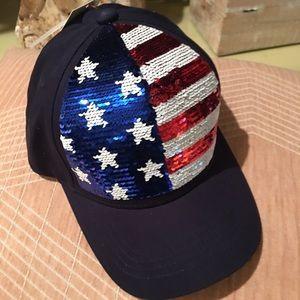 Sequined American flag cap